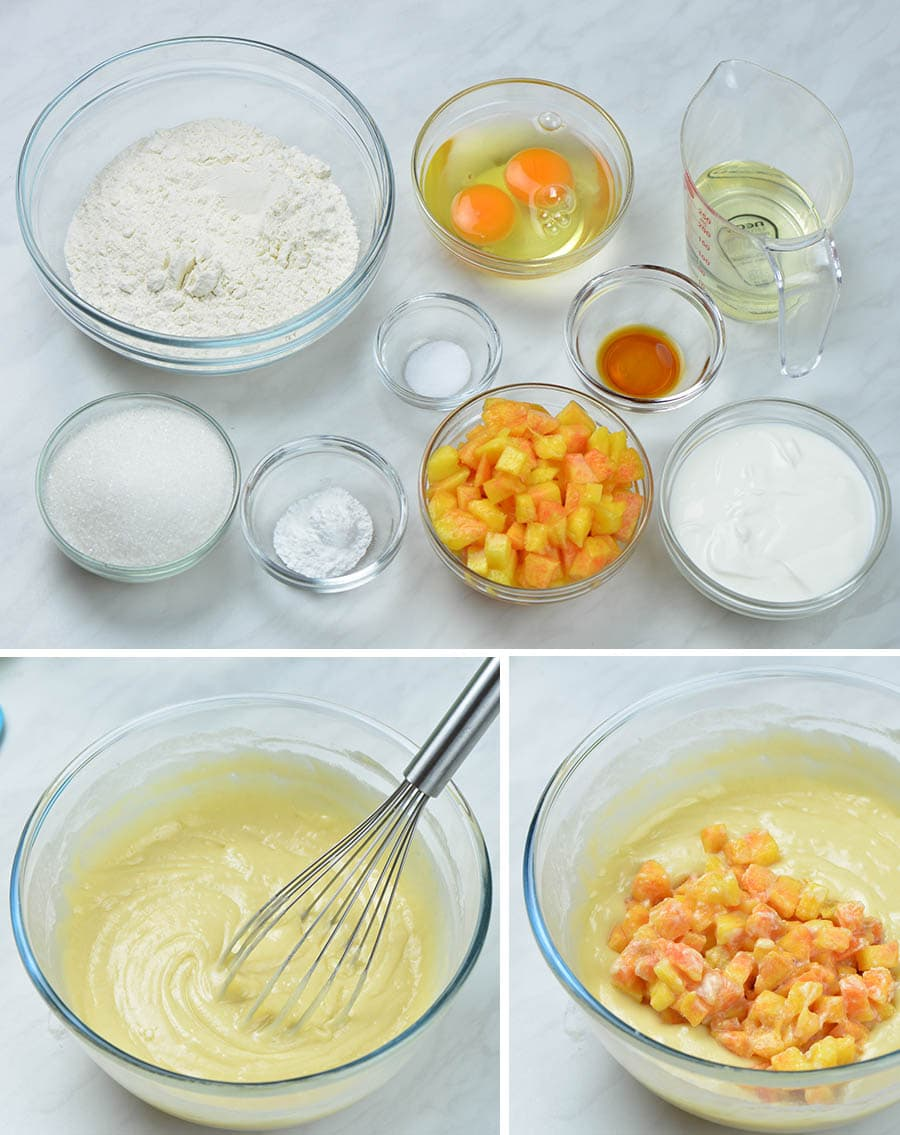 ingredients for peach muffins and a bowl with muffin batter mixture.