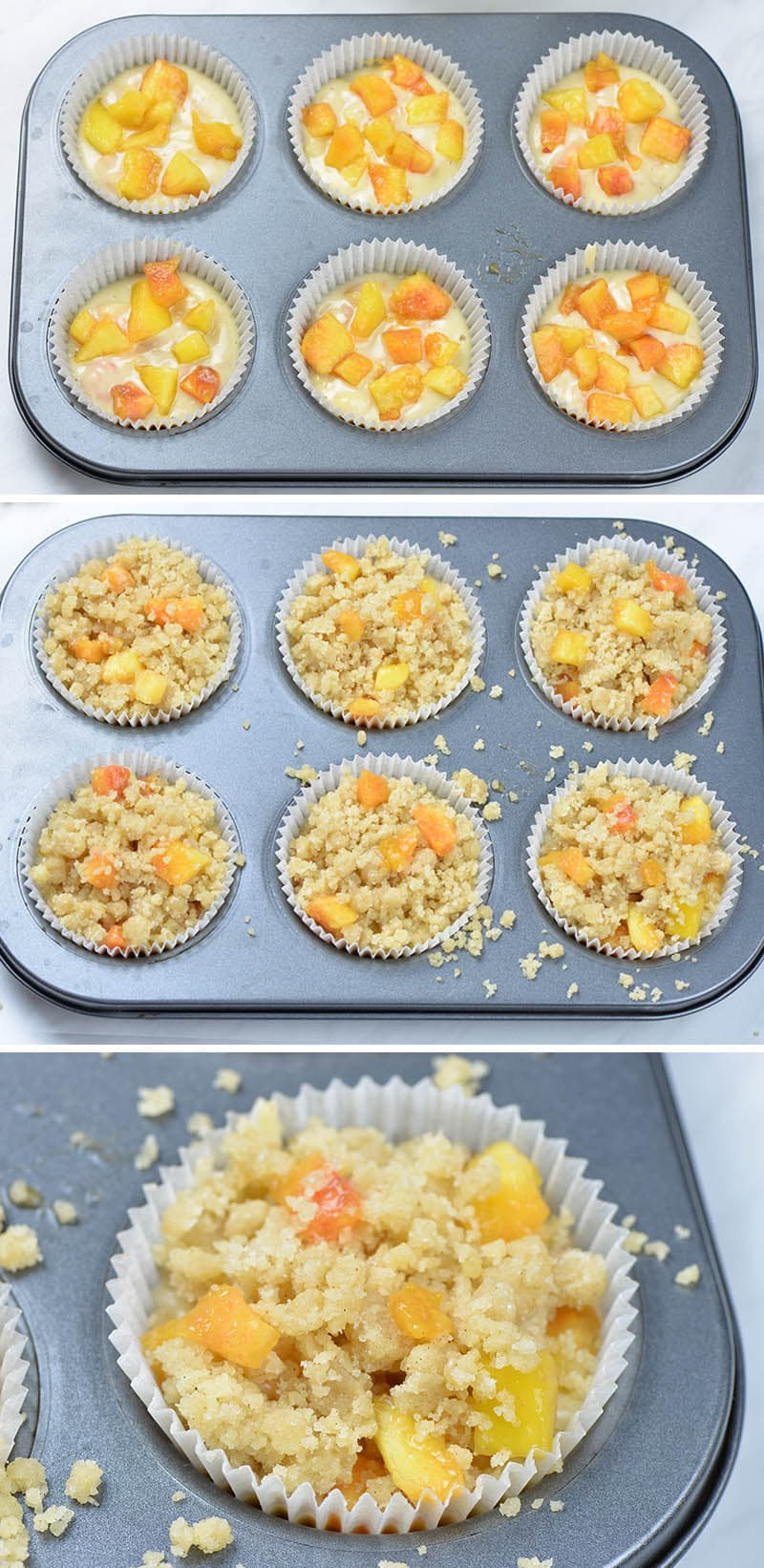 Peach muffins in muffin pan ready for baking.