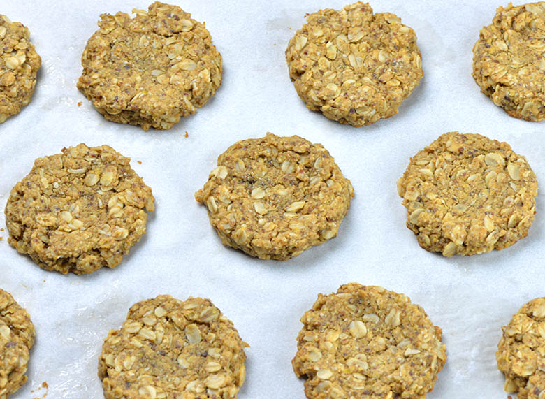 Baked Oatmeal Cookies on a baking sheet.