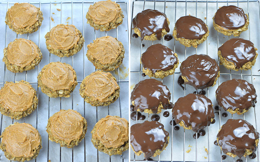 Baked Oatmeal Cookies on a rack covered with peanut butter and covered with chocolate.