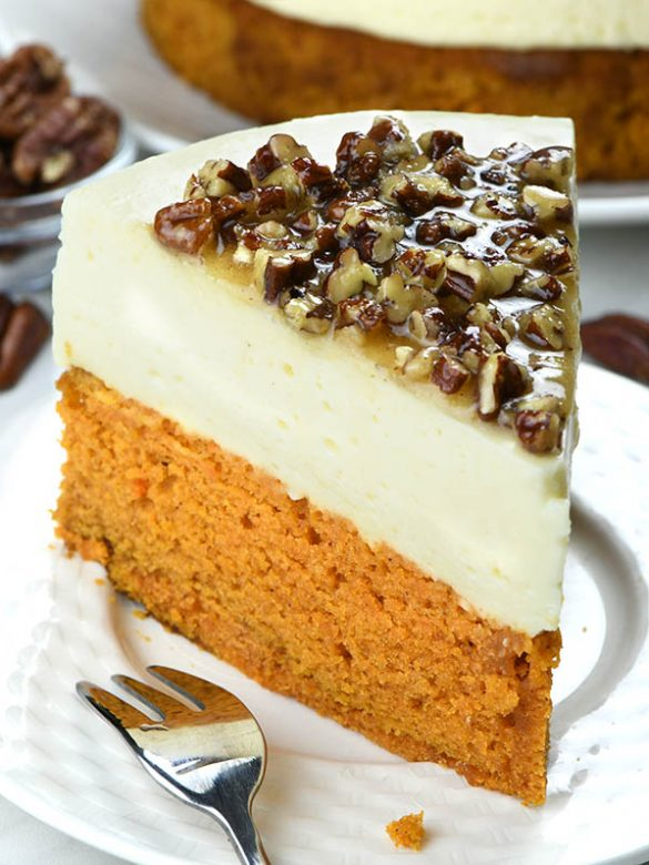 Pumpkin Bread Cheesecake with Pecan Praline Topping is an easy dessert recipe for holiday season, especially Thanksgiving and Christmas!