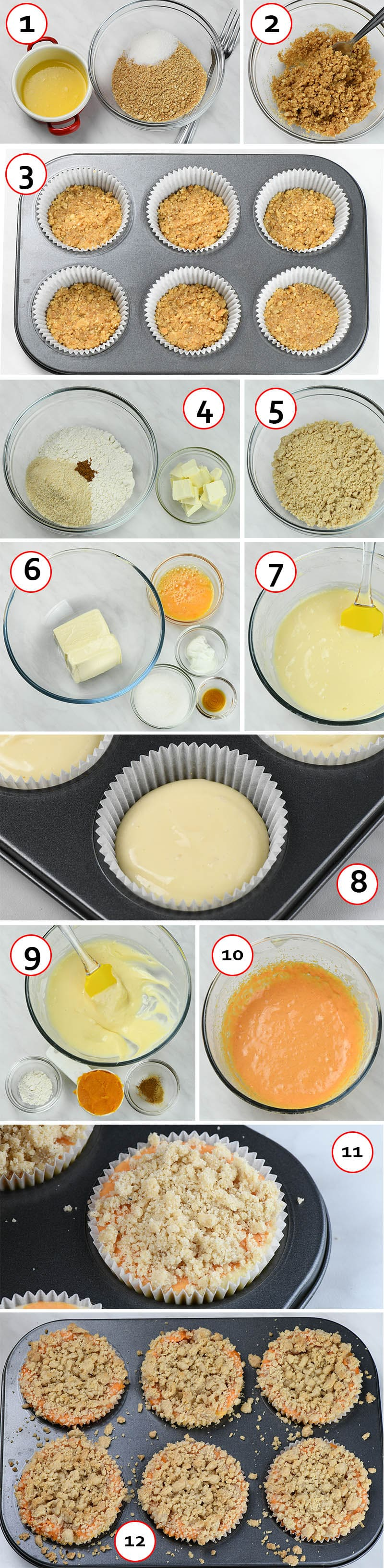 Step-by-step instruction for preparing Mini Pumpkin Cheesecakes