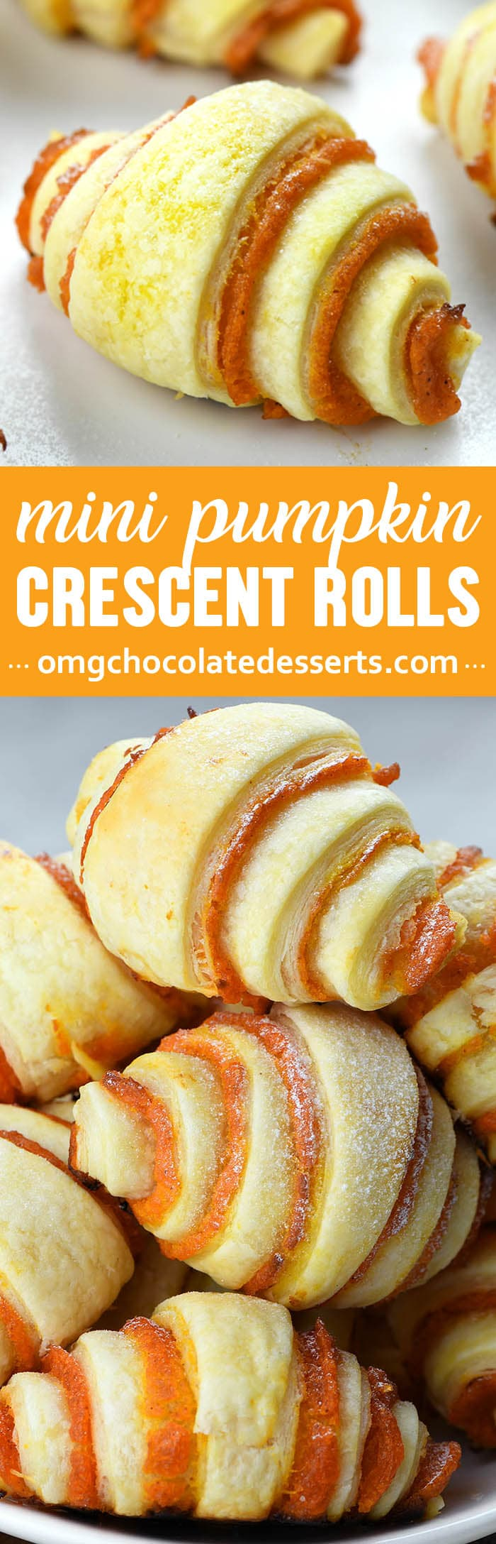 Mini Pumpkin Pie Crescent Rolls are a quick and easy recipe and perfect way to use leftover pumpkin. These bites are the perfect and easy alternative to a classic pumpkin pie.