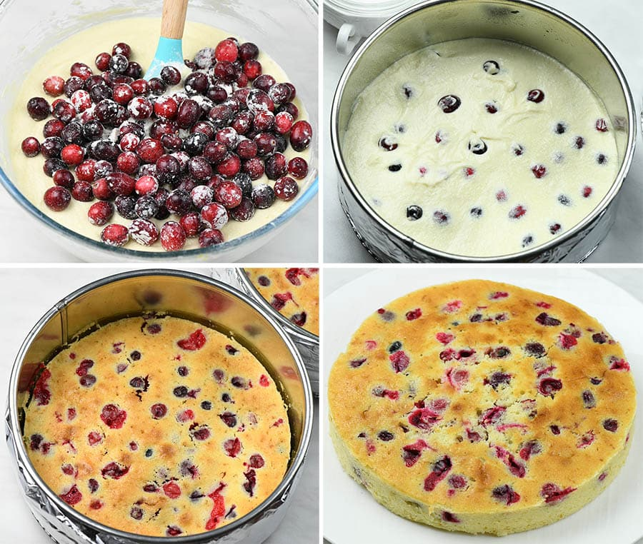Four steps of preparing cranberry layers.
