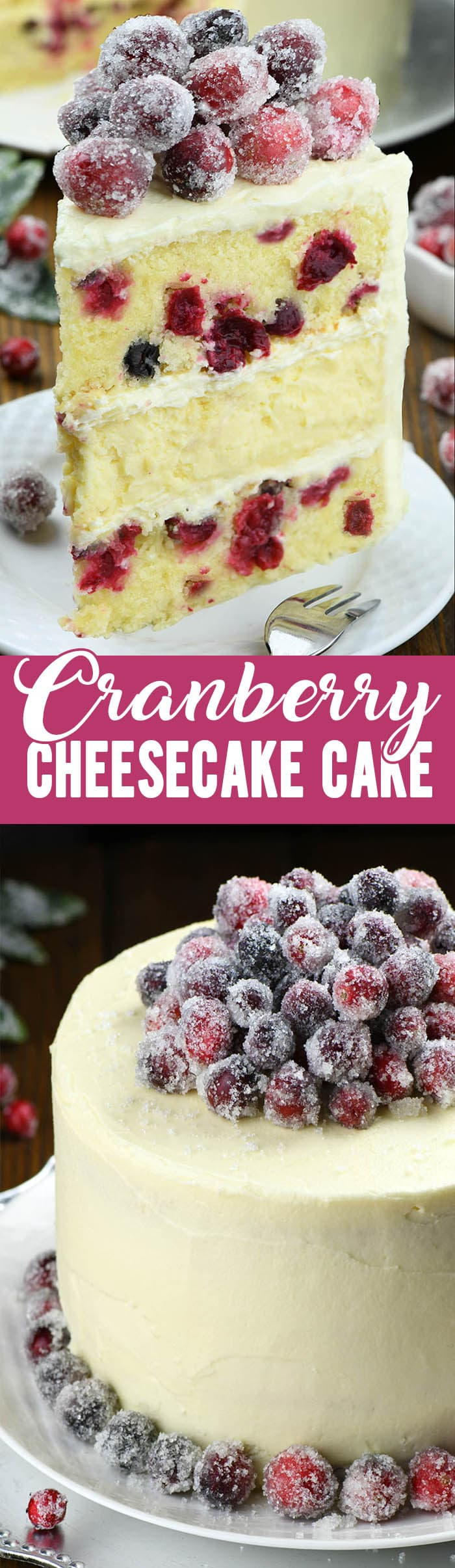 White Chocolate Cranberry Cheesecake. This cake deserves a central place on your Thanksgiving or Christmas table! Layers of moist vanilla cake made with fresh cranberries, creamy decadence of white chocolate cheesecake, with sparkling cranberries will outshine every other dessert on the table!#christmascake #cranberrycake #cheesecakerecipes #cakerecipes