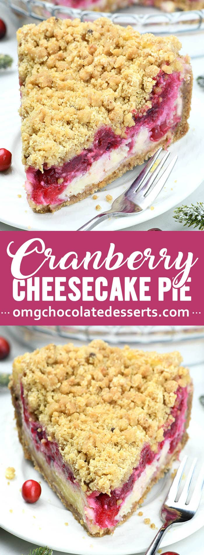 Cranberry Cheesecake Pie is a unique fall dessert recipe to add to your holiday menu for Thanksgiving or Christmas! Crunchy cinnamon sugar cookie crust with cranberry cheesecake filling! #cranberrypie #cheesecakepie #bestpierecipes #thanksgivingpierecipe #cranberrycheesecake #homemadethanksgivingpie #cookiecrust