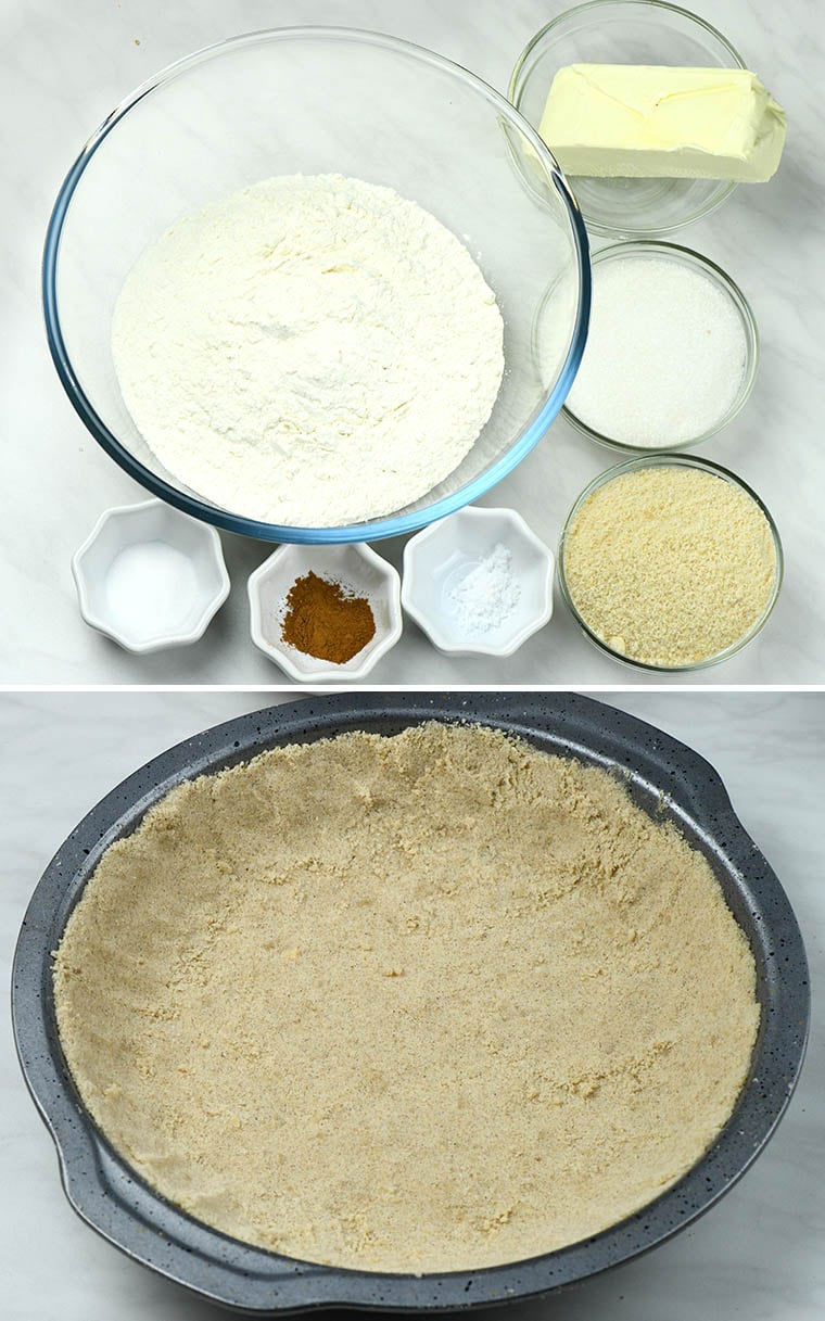 Ingredients for the pie crust and a pie pan with the crust ready for baking.