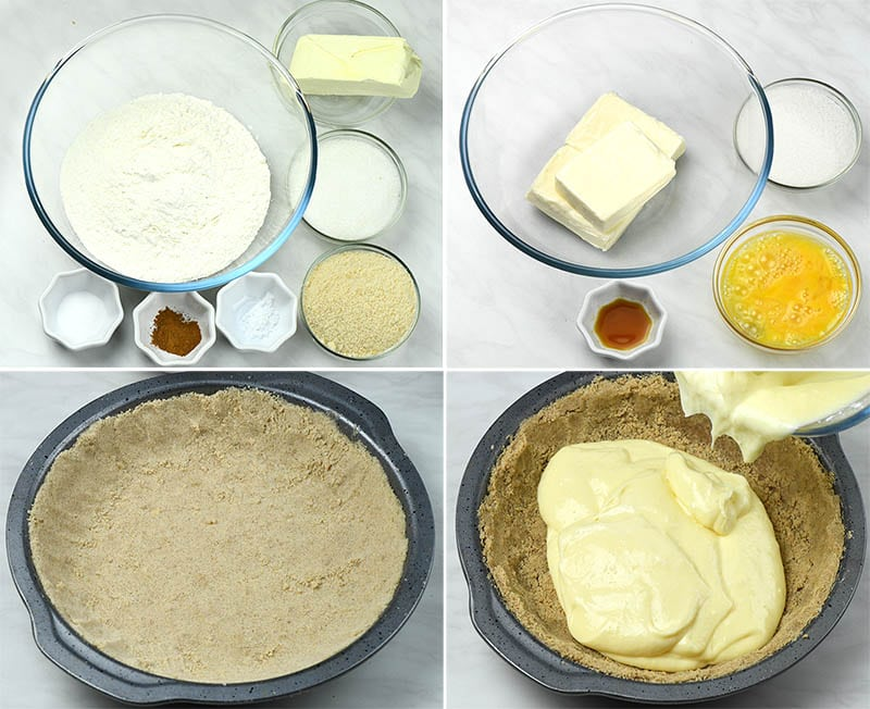 Bowls with the ingredients for the crust and for cheesecake filling. Pie pan with the crust and cheesecake filling.