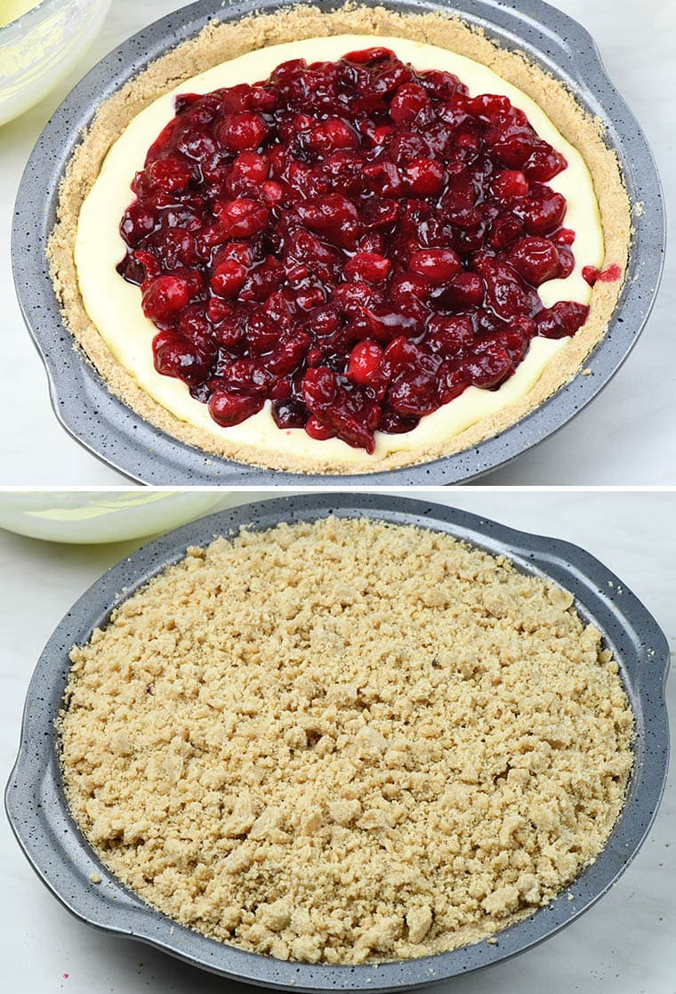 Pie pan with cranberry filling and the pie with crumb topping ready for baking.