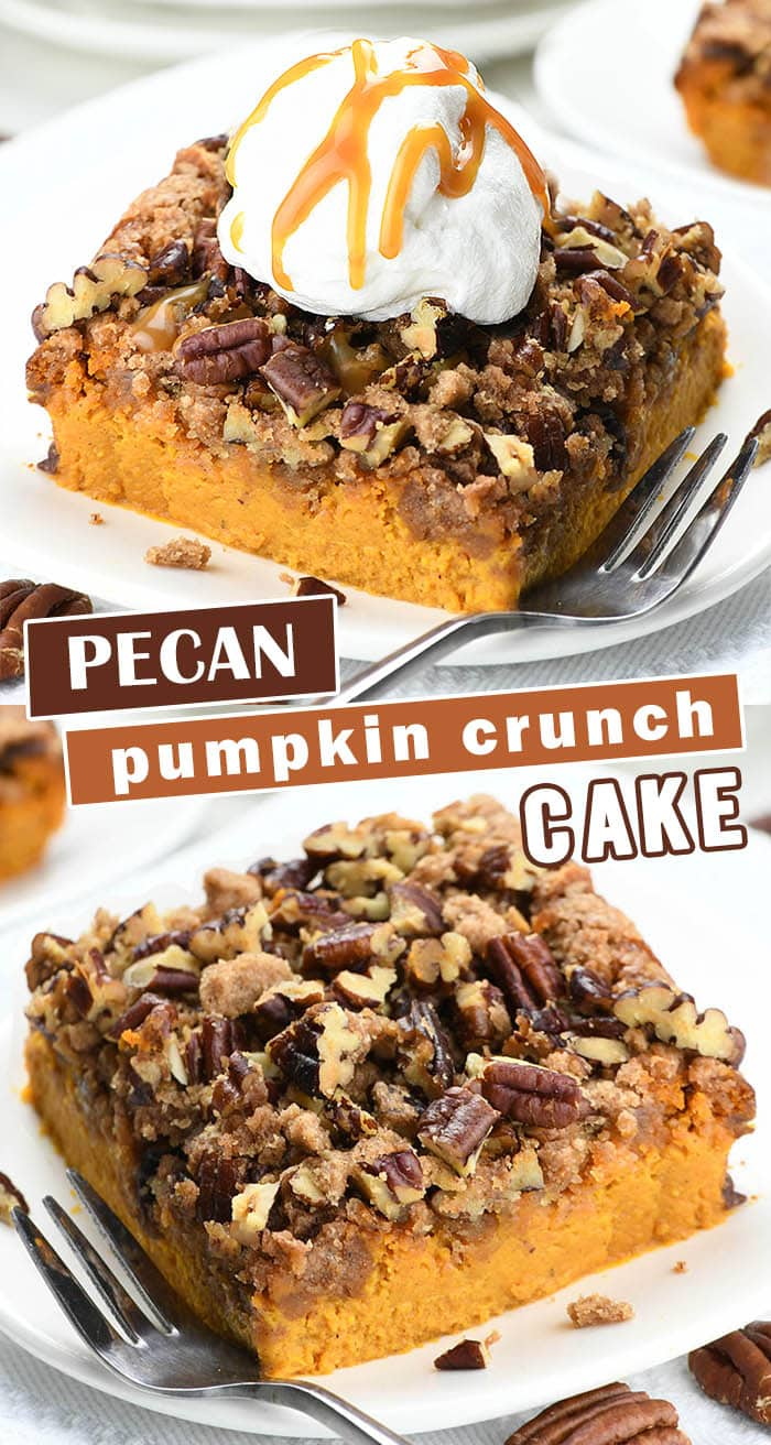 Pecan Pumpkin Crunch Cake recipe with all the fall flavors, pumpkin, pecan, brown sugar-cinnamon spice is out of this world delicious! Perfect addition for Thanksgiving and Christmas celebration. #pumpkincake #crunchcake #pecan #cakerecipes
