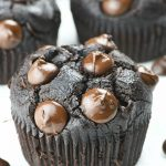 Skinny double chocolate muffins with chocolate chips, in wrappers