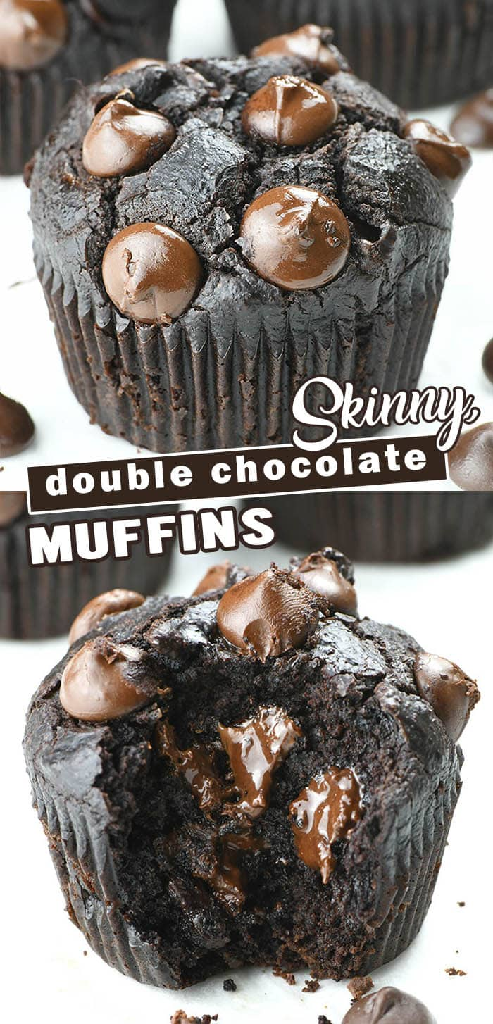 These Skinny Double Chocolate Muffins are vegan, gluten-free, egg-free and dairy-free. These are great make-ahead breakfast to grab on the go and after school snack, as well. #skinnymuffins #chocolatemuffins #breakfastmuffins #skinnyrecipes #healthybreakfastmuffins #chocolatechipmuffins #doublechocolatemuffins