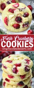 These Christmas cookies are overloaded with white chocolate and tangy fresh cranberries for a bright festive look. They would be the perfect addition to your holiday cookie tray!