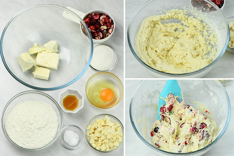 Fresh Cranberry White Chocolate Cookies (cookie dough instruction)