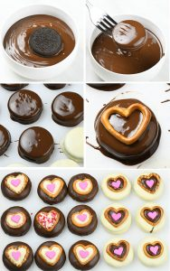 Five steps of preparing Chocolate Covered Oreos