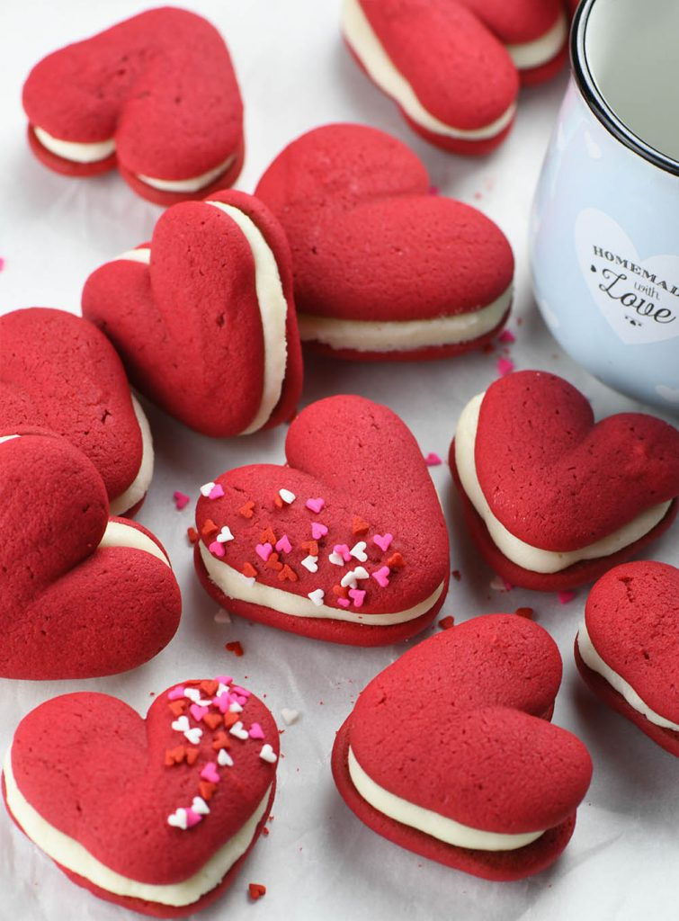 This Valentine's Day version of classic whoopie pies has a big taste yet smaller size and look adorable.