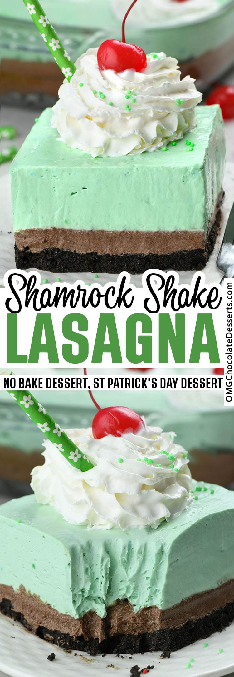 Shamrock Shake Lasagna is festive St Patrick's Day treat, even if you don't do much to celebrate it. Sweet, minty and creamy, this Shamrock Shake Lasagna is the perfect dessert to bring to a potluck or holiday gathering!