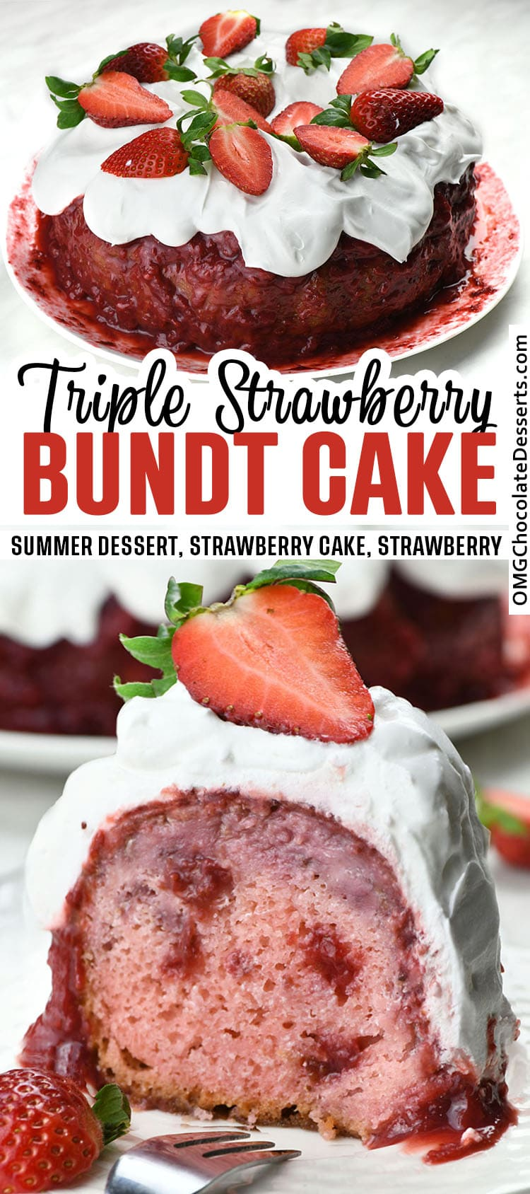 Two different images of Triple Strawberry Cake.