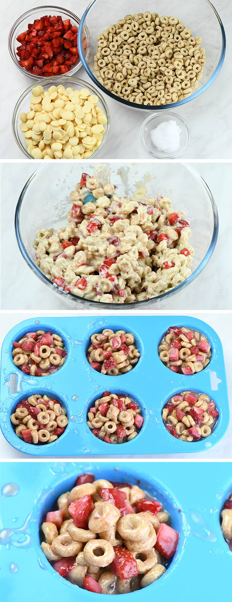 Preparing steps for White Chocolate Strawberry Cheerios Cups