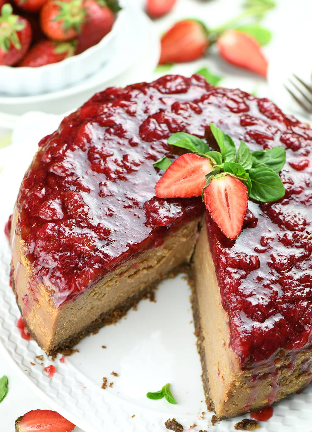 Image of Strawberry Chocolate Cheesecake from top.
