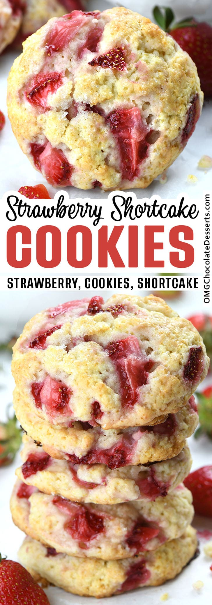 Two different images of Strawberry Shortcake Cookies