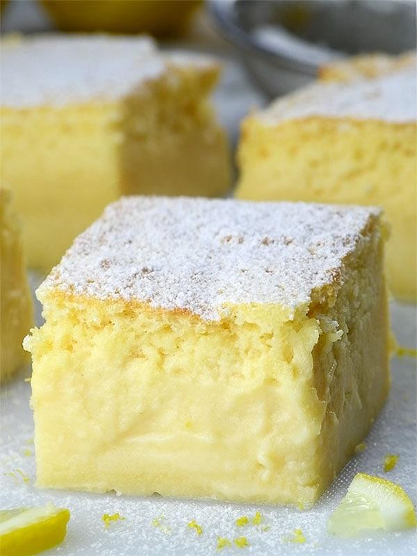Piece of Lemon Custard Cake.