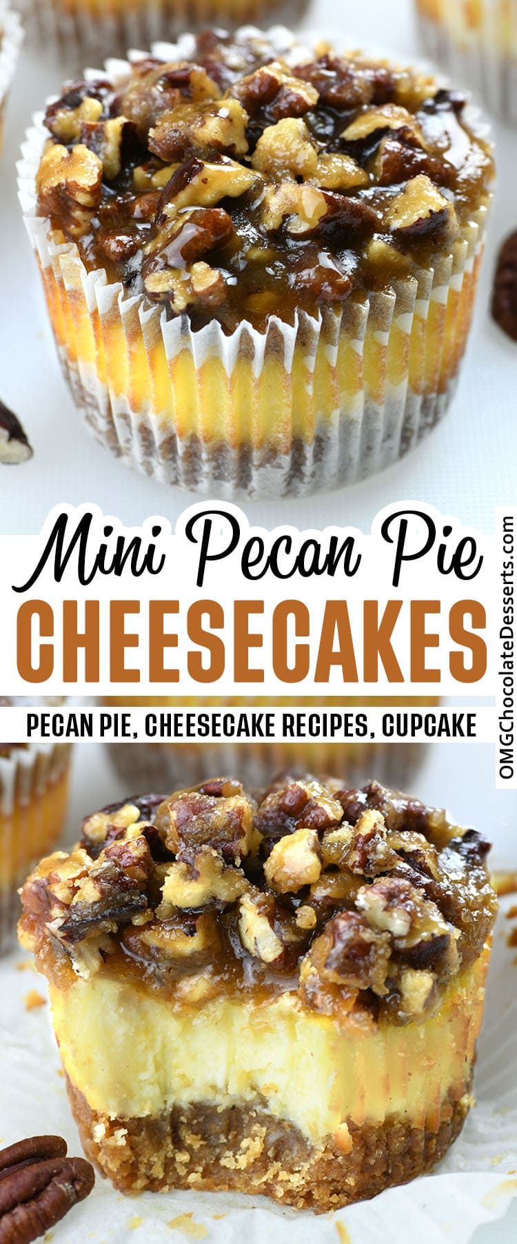 Mini Pecan Pie Cheesecakes combines two of the best holiday desserts-cheesecake and pecan pie and pack them into one amazing treat