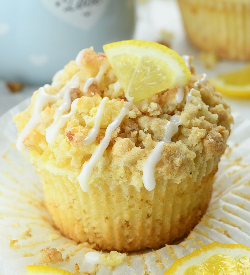 Lemon Cream Cheese Muffin on parchment paper.