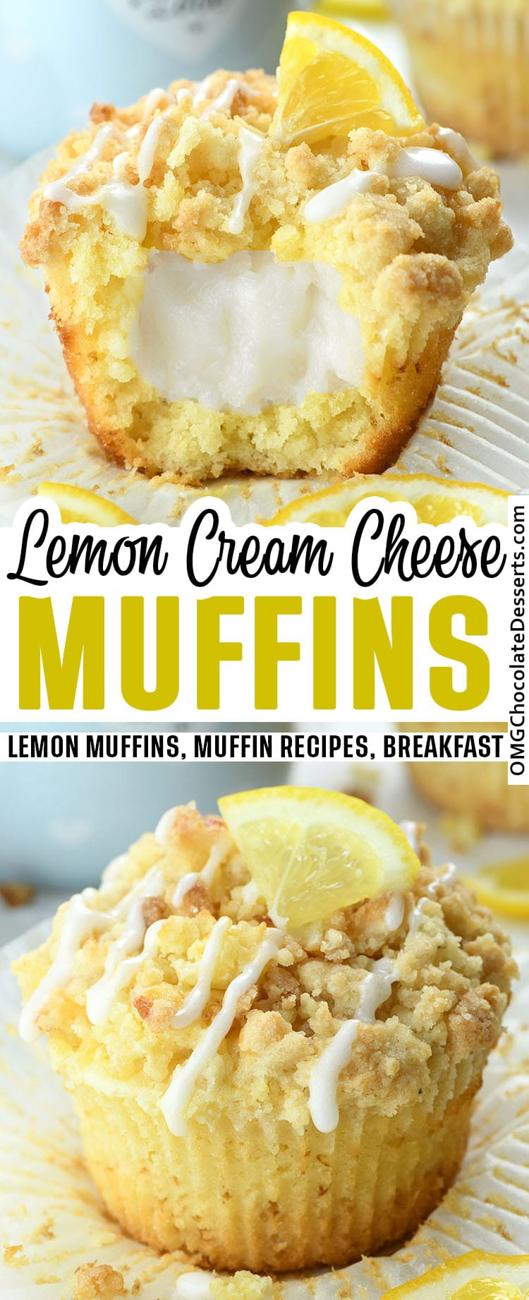 Two different images of Lemon Muffins and title text between the images.