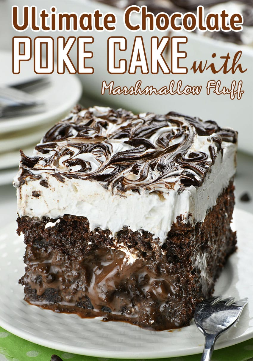Piece of Marshmallow Chocolate Poke Cake on a white plate.