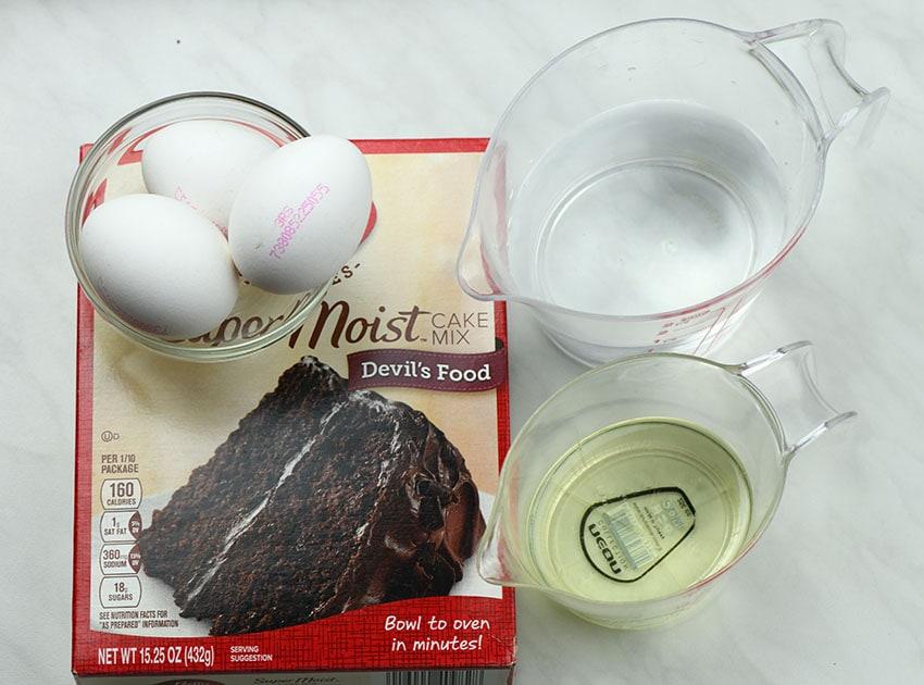 Marshmallow Chocolate Poke Cake preparation step 1.