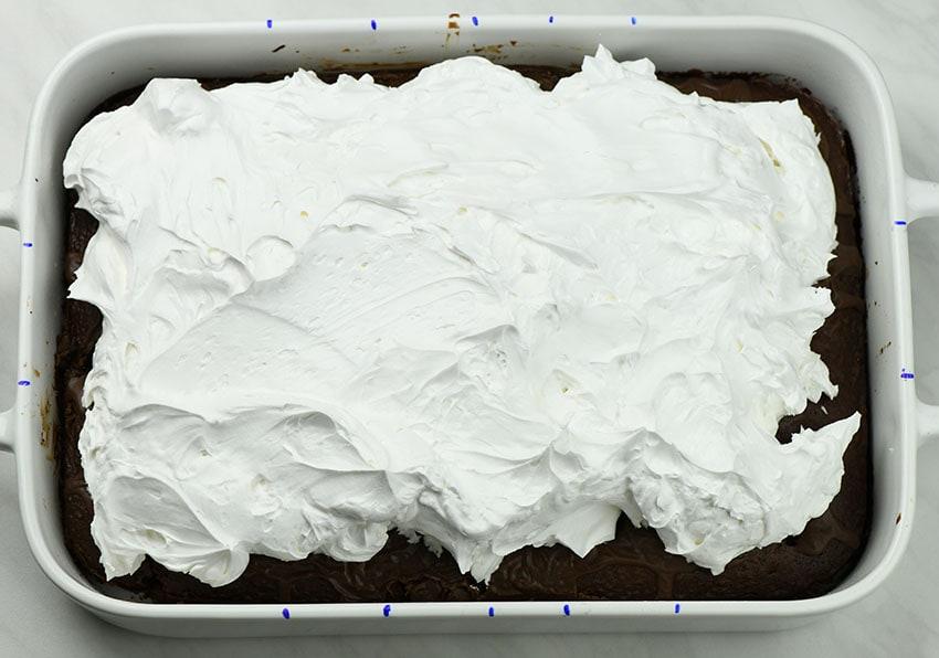 Marshmallow Chocolate Poke Cake preparation step 6.