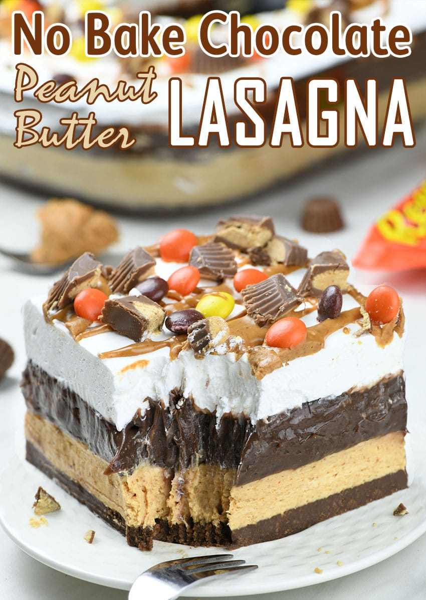 Chocolate Peanut Butter Lasagna on white plate garnished with Reese's Peanut Butter cups.