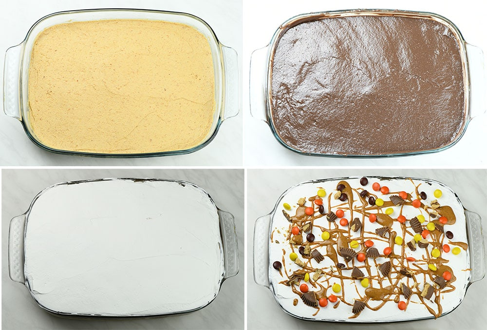 Four layers of Chocolate Peanut Butter Lasagna