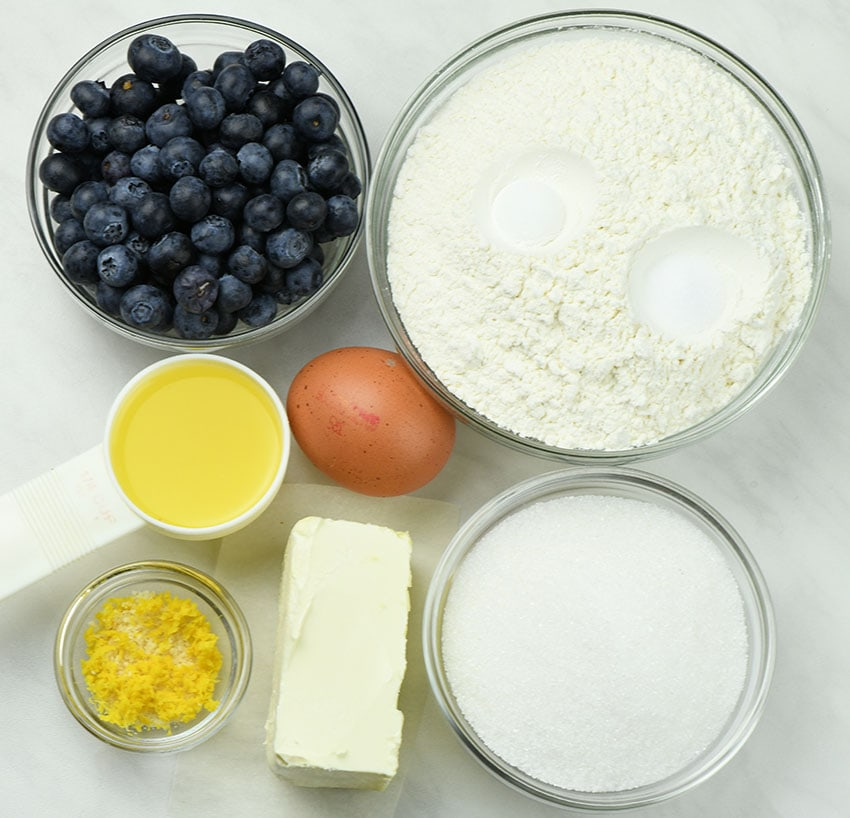 Bunch of ingredients for Blueberry Lemon Blondies