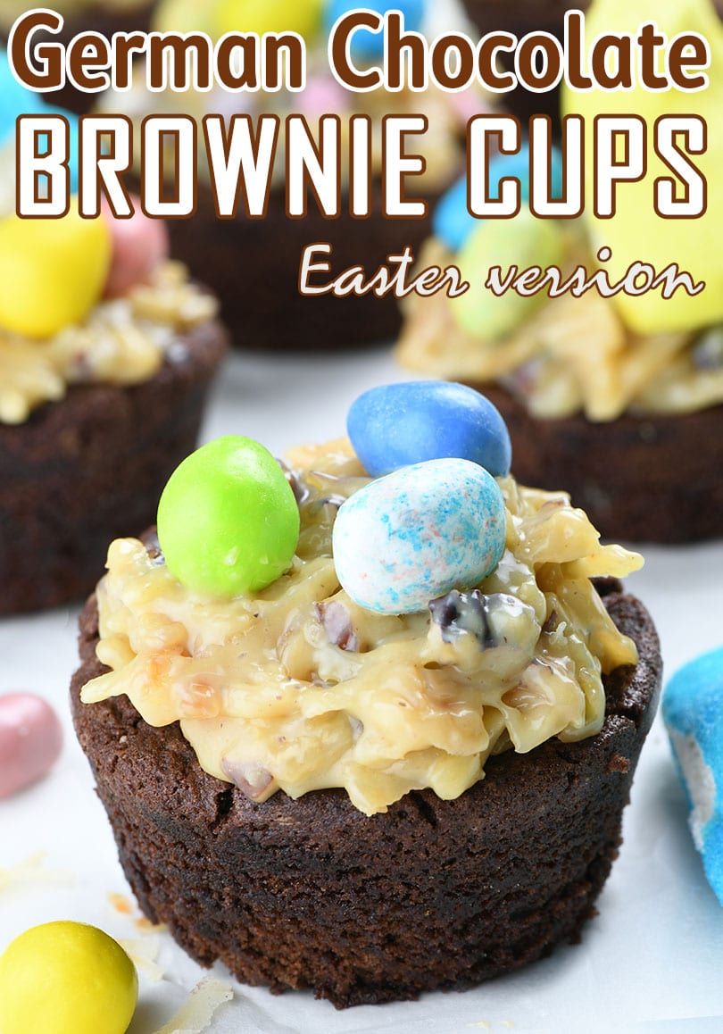German Chocolate Brownie Easter Cup with three Easter egg candies on top.