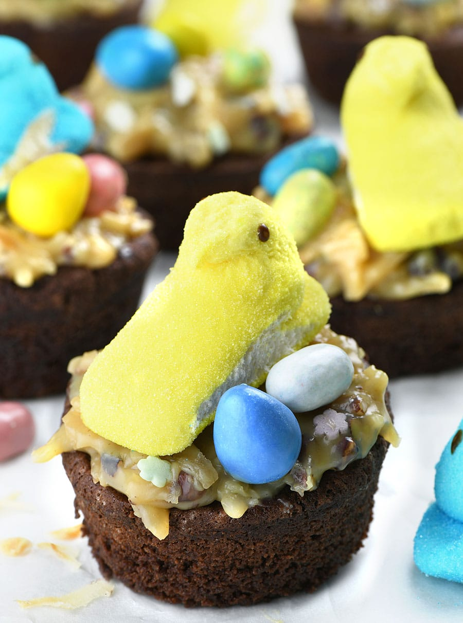German Chocolate Brownie Easter Cup decorated with Peeps and Easter eggs.