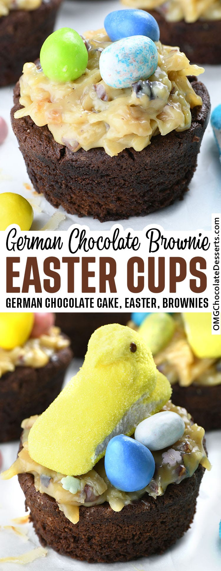 Rich chocolaty brownie cups topped with a homemade, gooey coconut pecan frosting, garnished with Easter egg candies, and Peeps