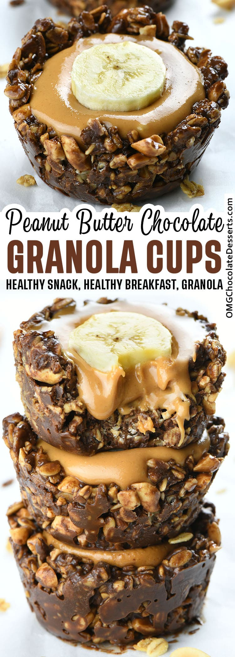 Two images of Chocolate Granola Cups with Peanut Butter Filling.