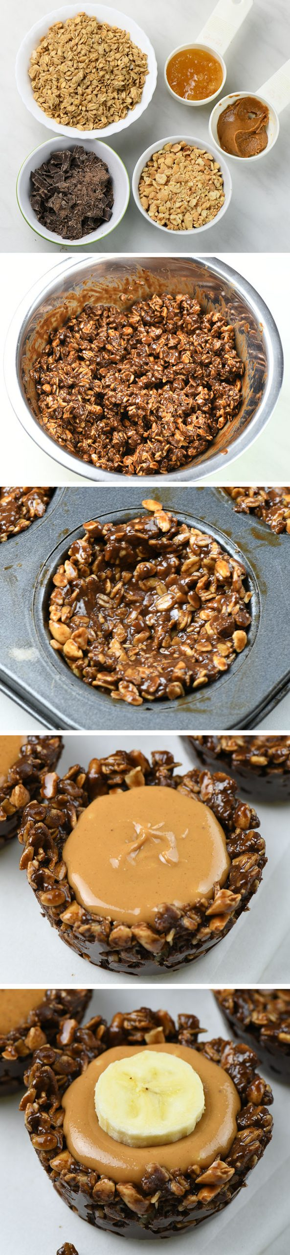 Chocolate Granola Cups with Peanut Butter Filling step by step instruction.