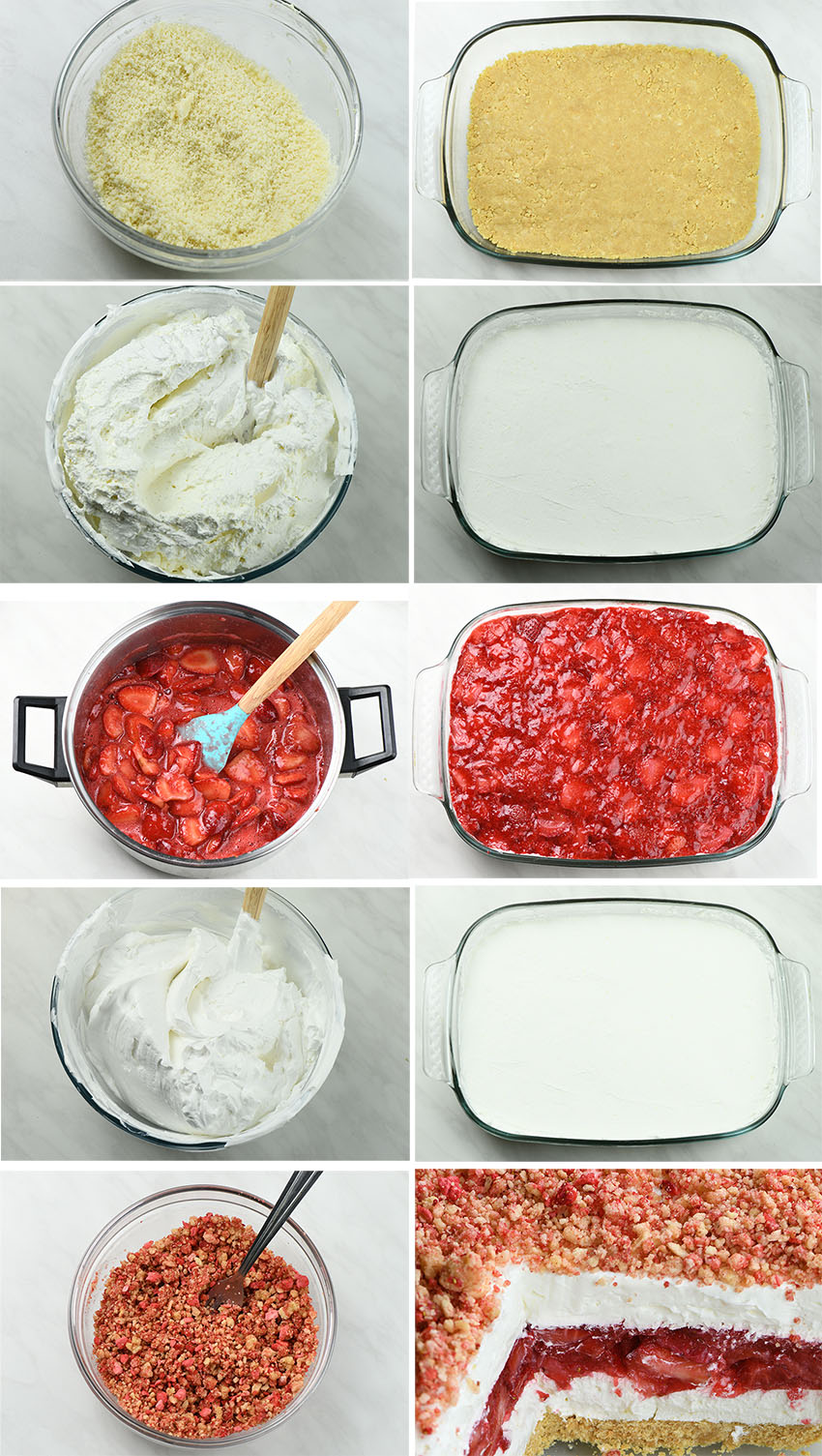 Strawberry Jello Lasagna step by step instruction images.