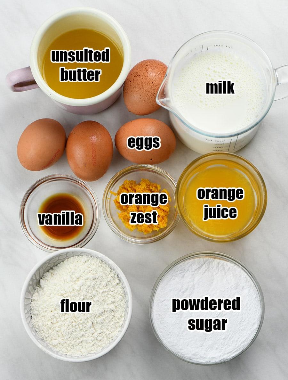 Orange custard cake ingredients