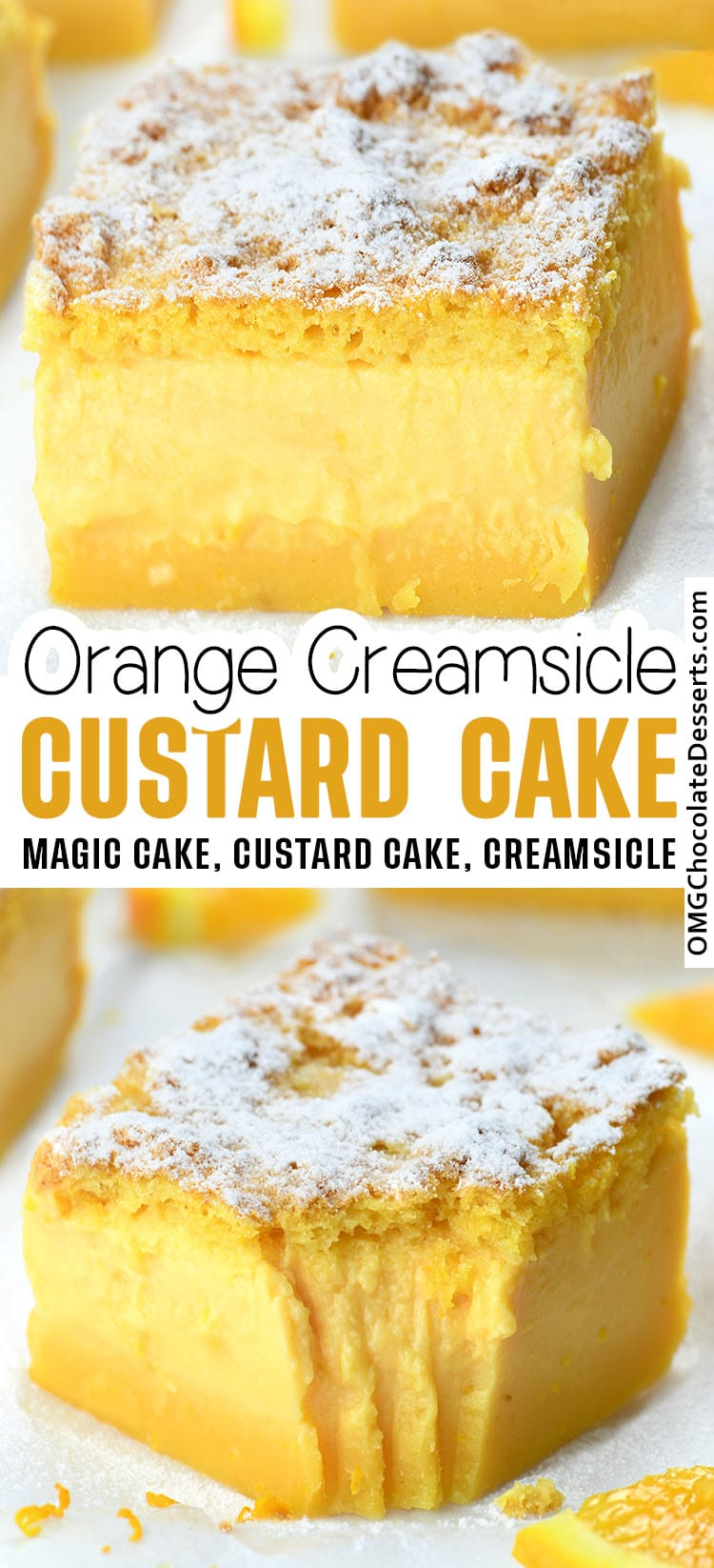 Two images of Orange Custard Cake with recipe title between.