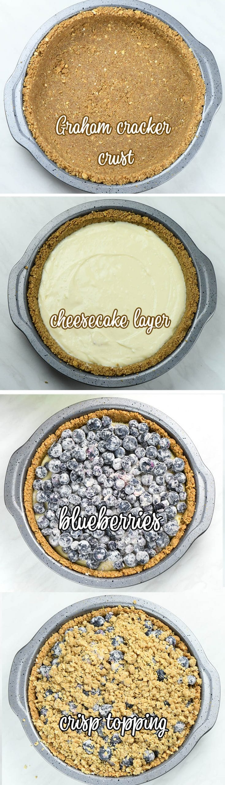 Four images of Blueberry Crumble Cheesecake Pie preparation steps..
