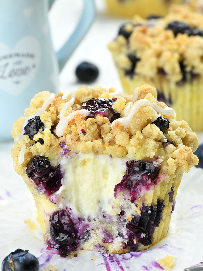 These muffins burst with berries in every single bite and make an irresistible flavor combo with a smooth and creamy filling and crunchy topping.