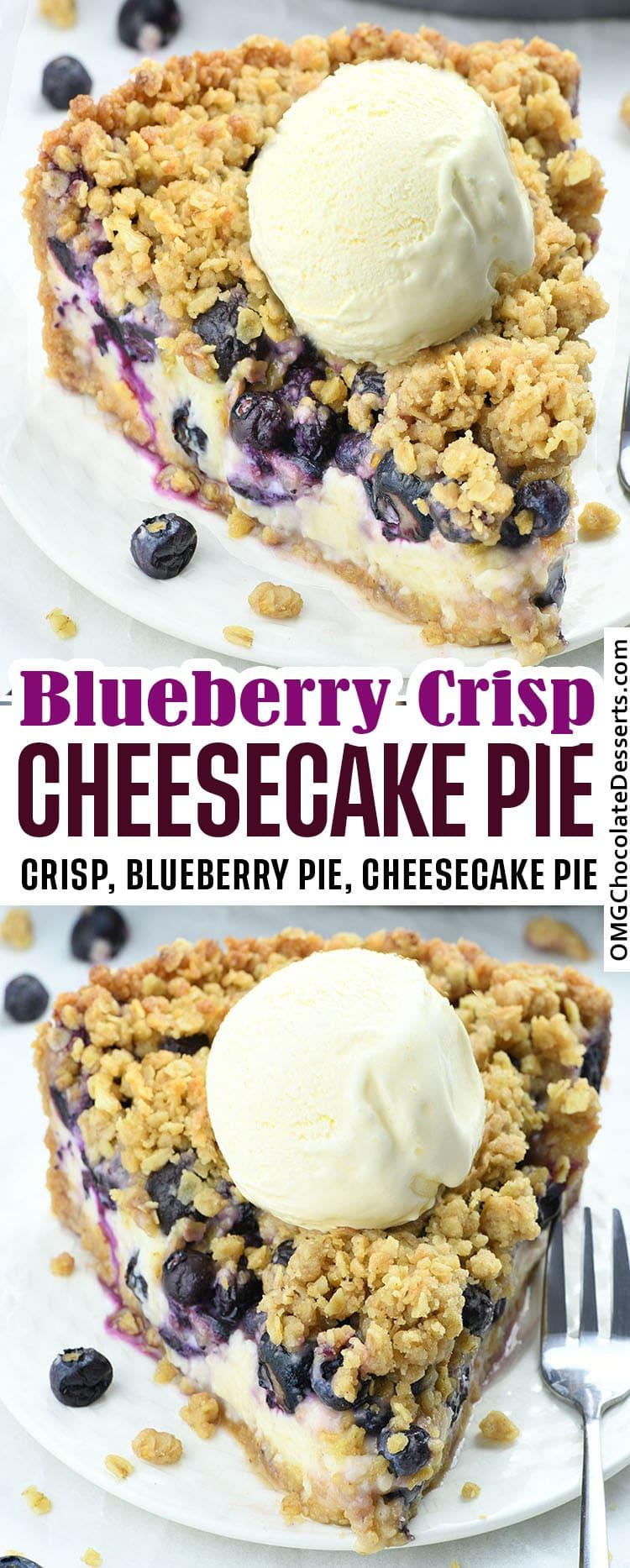 Blueberry Crumble Cheesecake Pie