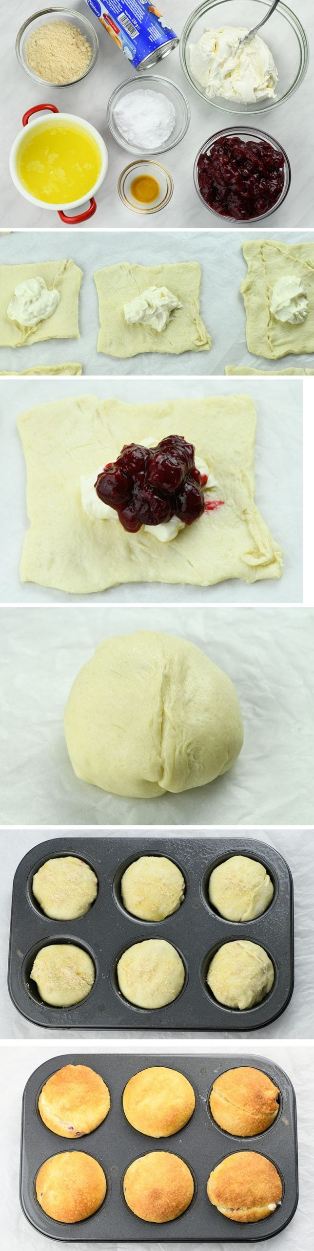 Cherry Cheesecake Crescent Muffins instructions step by step.