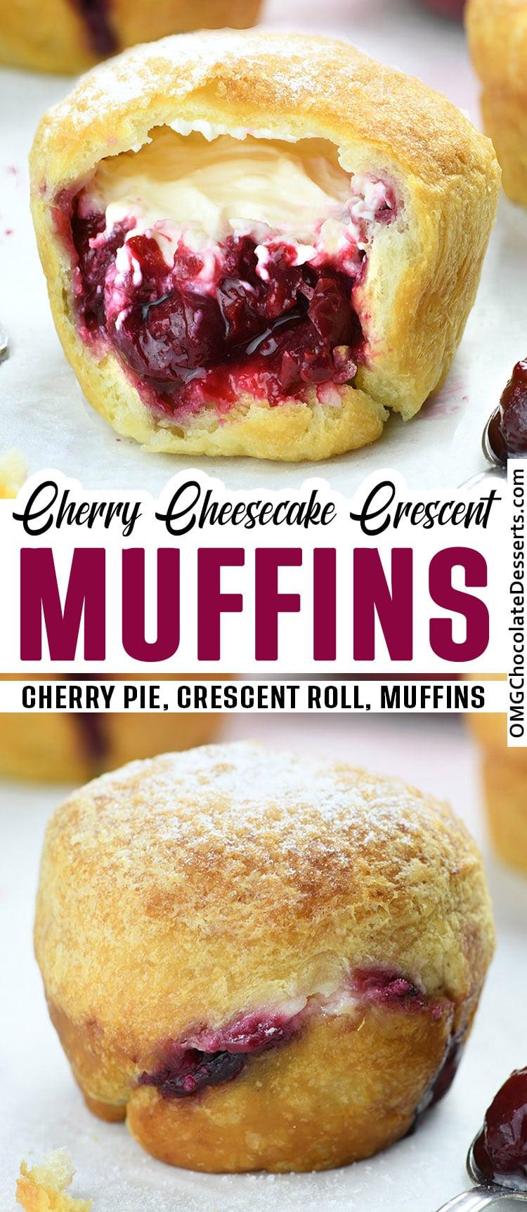 Cherry Cheesecake Crescent Muffins