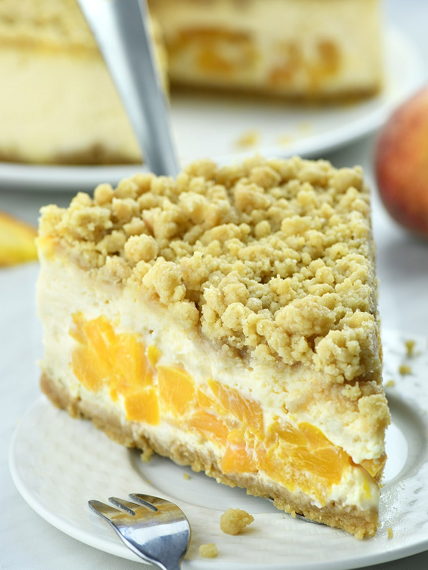 Peach Cheesecake is like a juicy and sweet peach pie hidden inside the cheesecake.