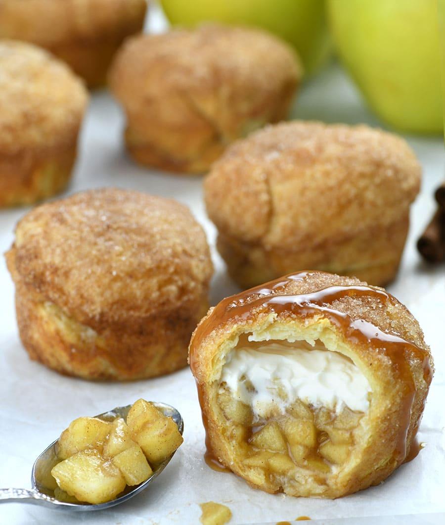 Bunch of Apple Pie Cheesecake Crescent Muffins